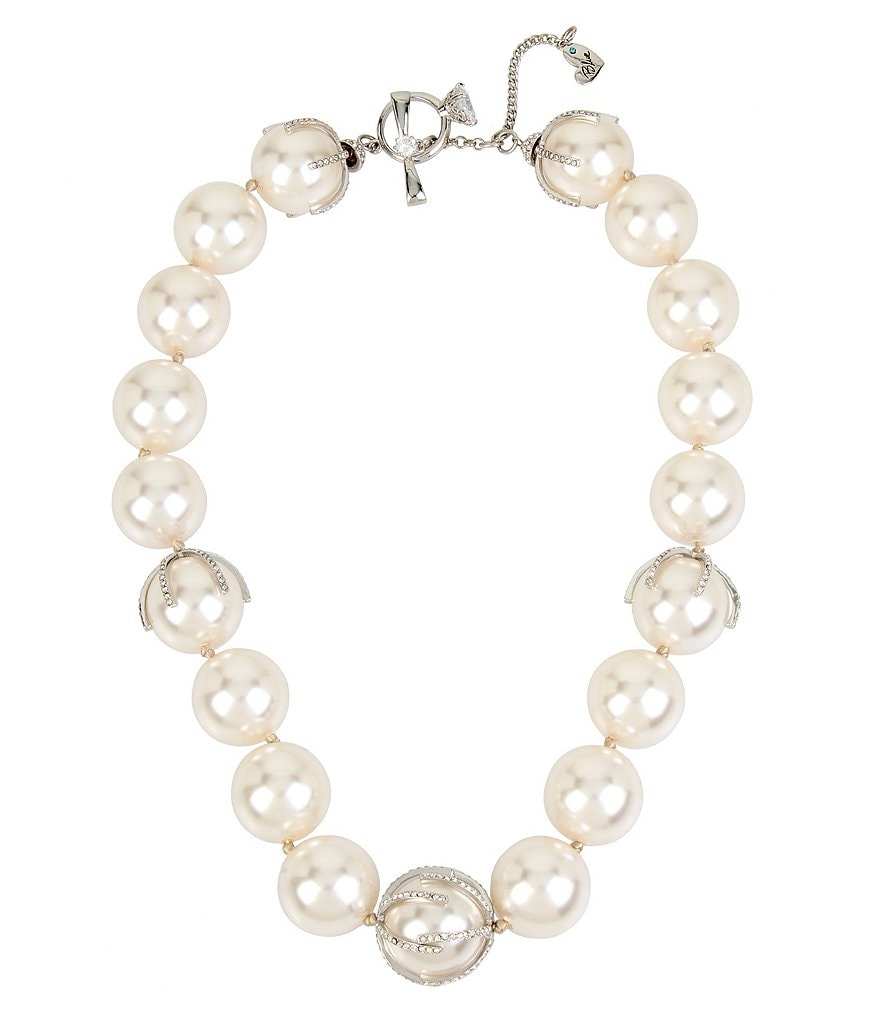 Blue by Betsey Johnson Faux-Pearl Collar Statement Necklace