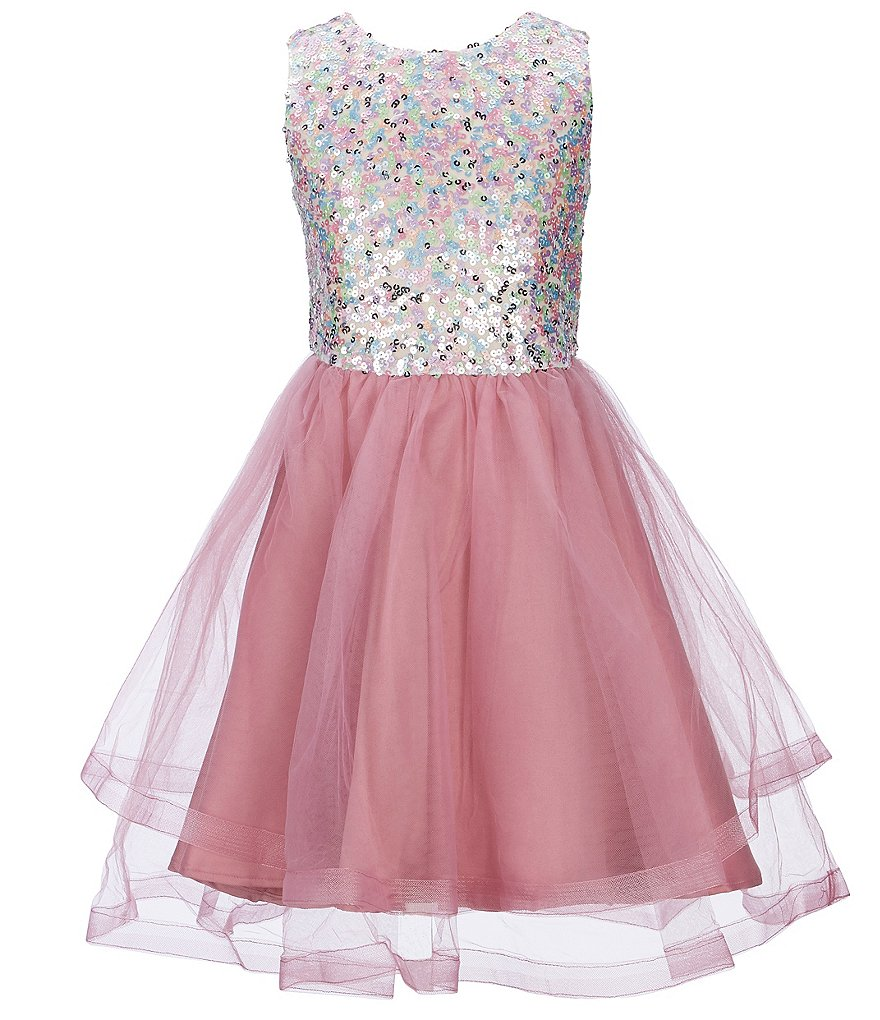 Blush by Us Angels Big Girls 7-16 Sleeveless Sequin/Mesh Fit-And-Flare Dress