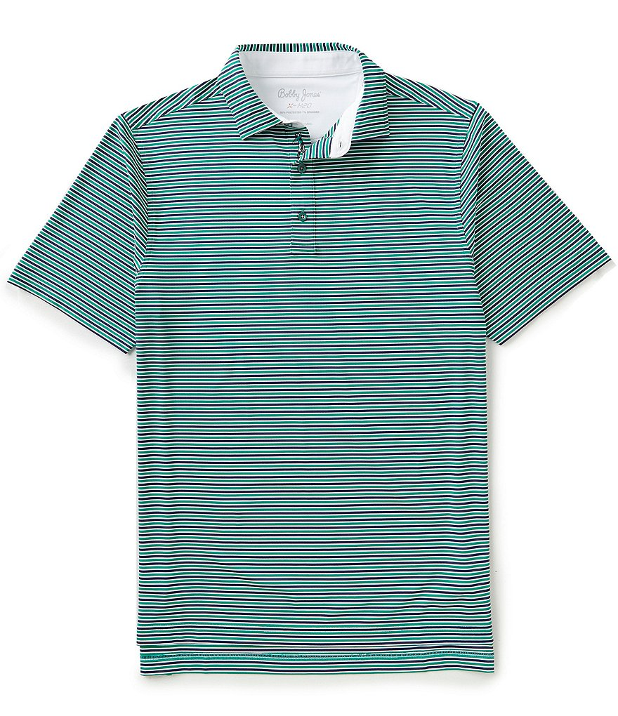 Bobby Jones XH20 Matzah Tech Striped Short-Sleeve Polo Shirt