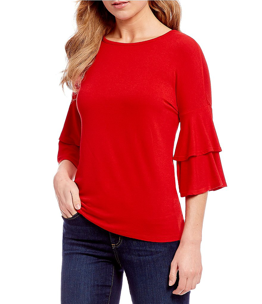 Bobeau 3/4 Double Ruffle Sleeve Solid Knit Top