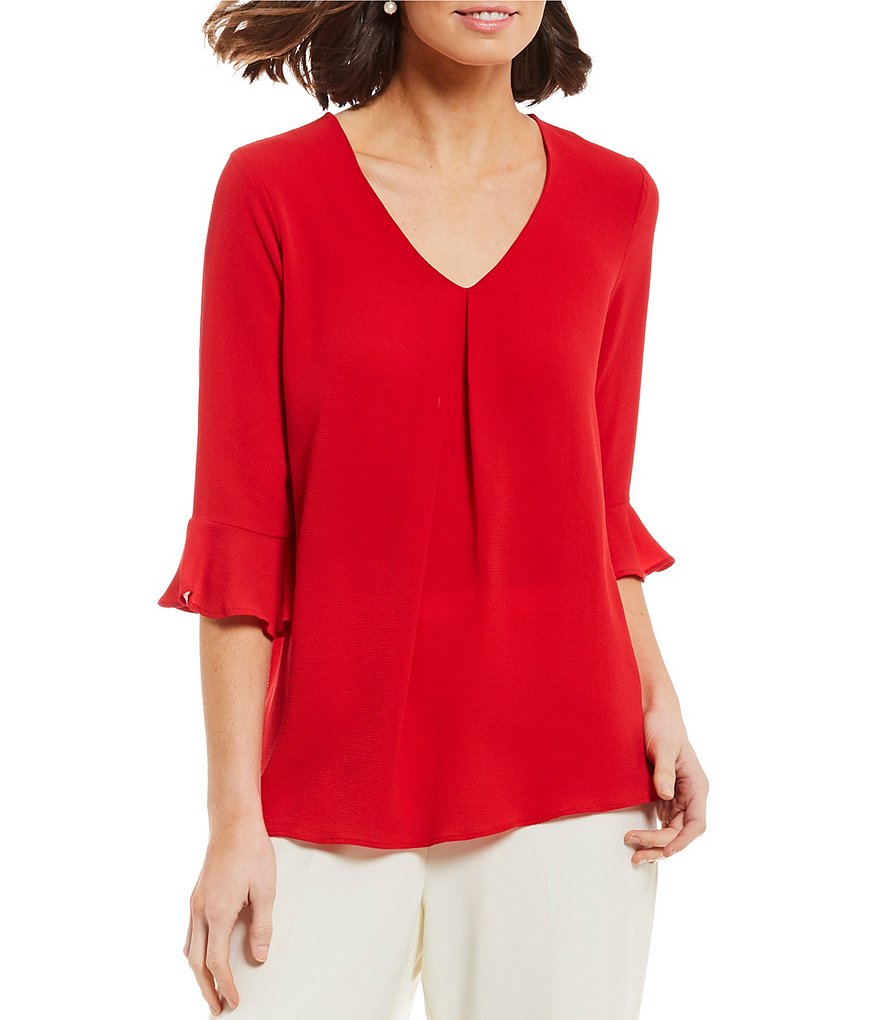 Bobeau 3/4 Ruffle Sleeve V-Neck Pleat Front Top