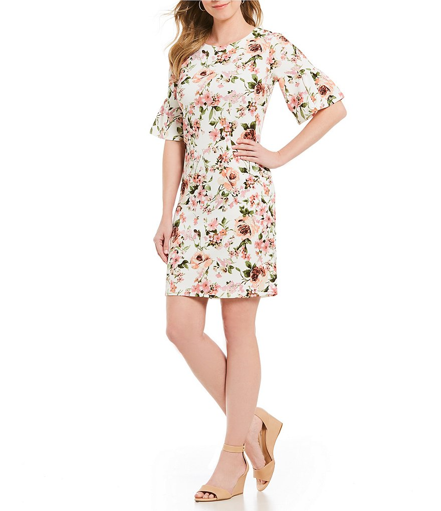 Bobeau Elbow Bell Sleeve Floral Print Sheath Dress