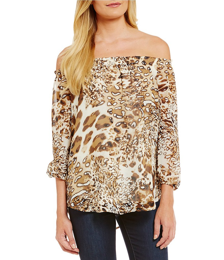 Bobeau Off-The-Shoulder 3/4 Sleeve Printed Peasant Top