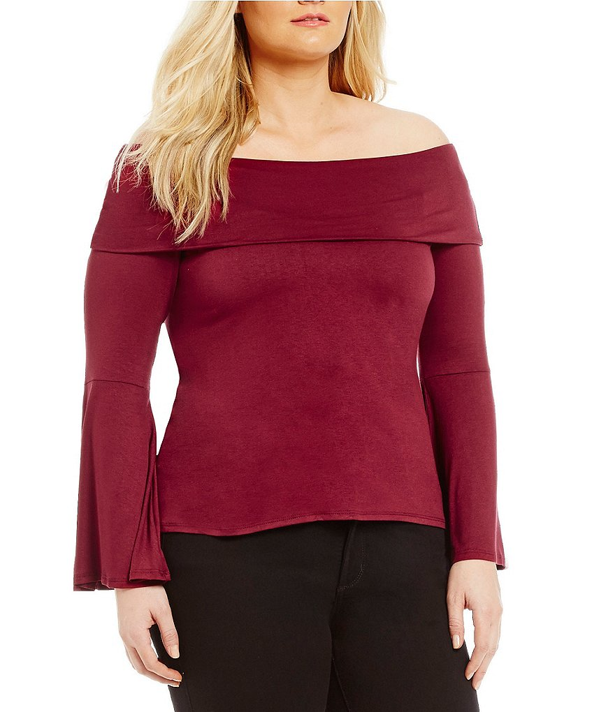 Bobeau Plus Bell Sleeve Off the Shoulder Top