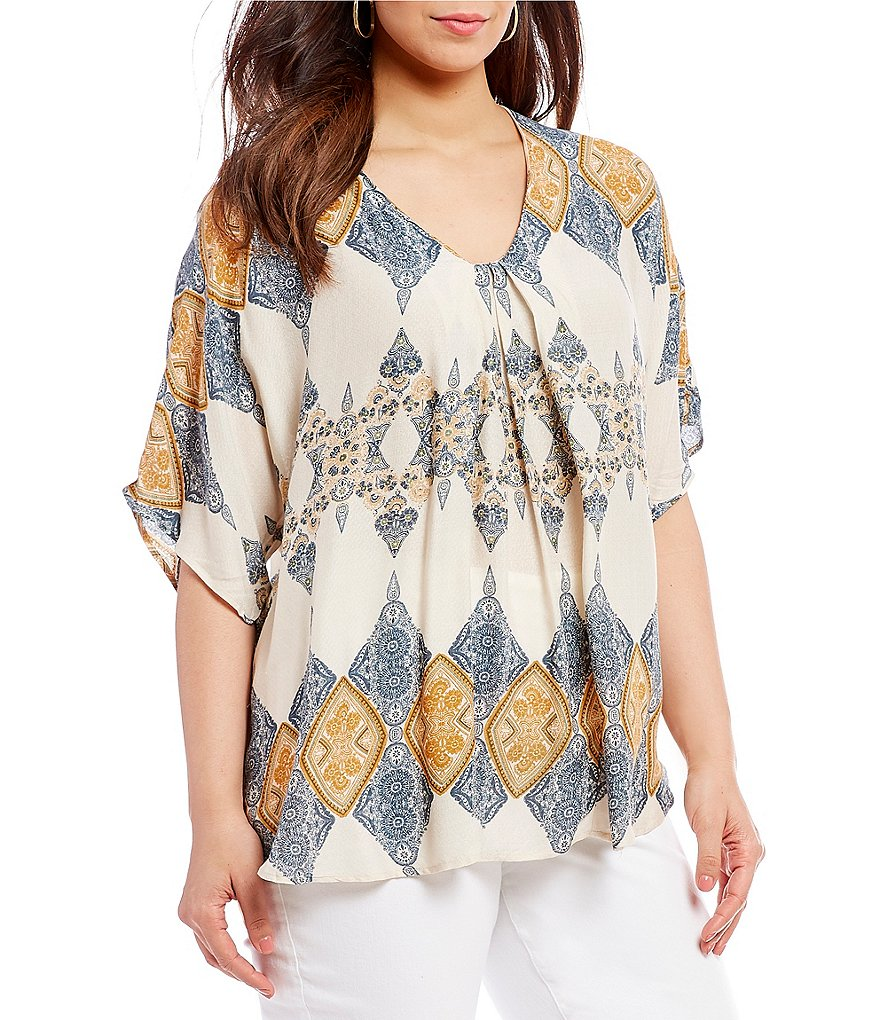 Bobeau Plus Size Presley Front Pleat Printed Top