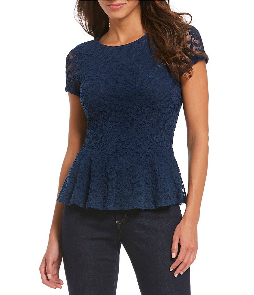 Bobeau Short Sleeve All-Over Lace Peplum Top