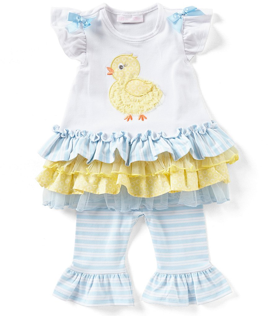 Bonnie Baby Baby Girls 12-24 Months Easter Chick Applique Drop-Waist Dress & Striped Leggings Set