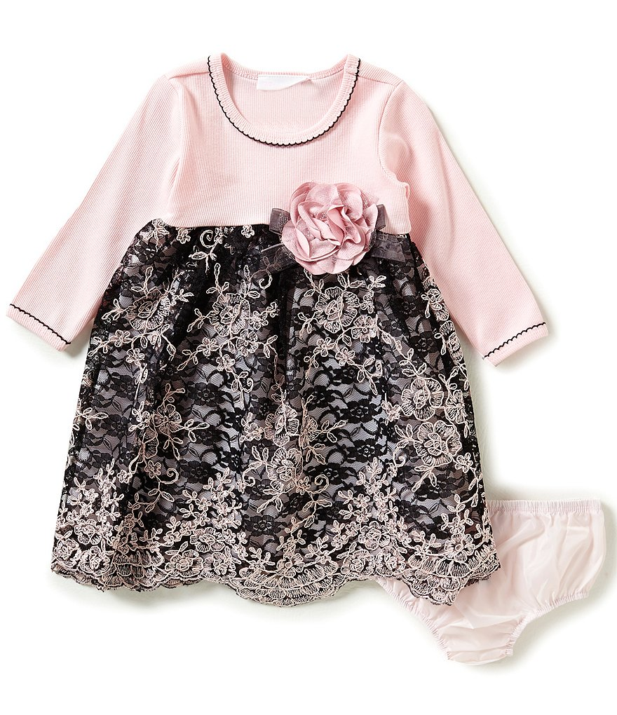 Bonnie Baby Girls 12-24 Months Rib-Knit-Bodice Embroidered-Lace-Skirted Dress