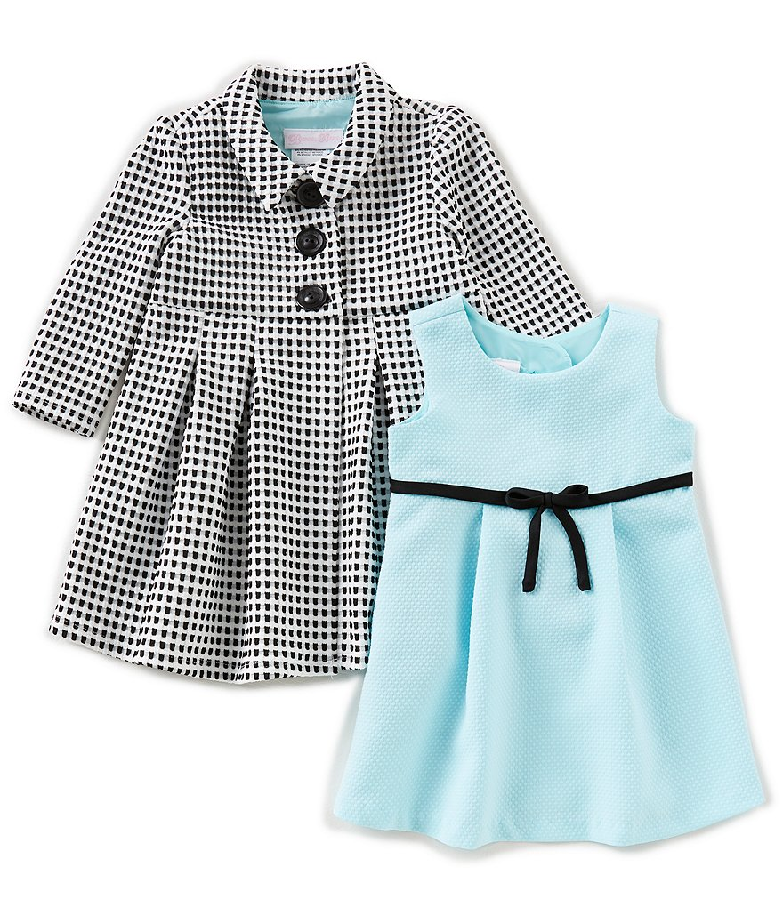 Bonnie Baby Baby Girls 12-24 Months Solid Knit Dress & Checked Coat Set