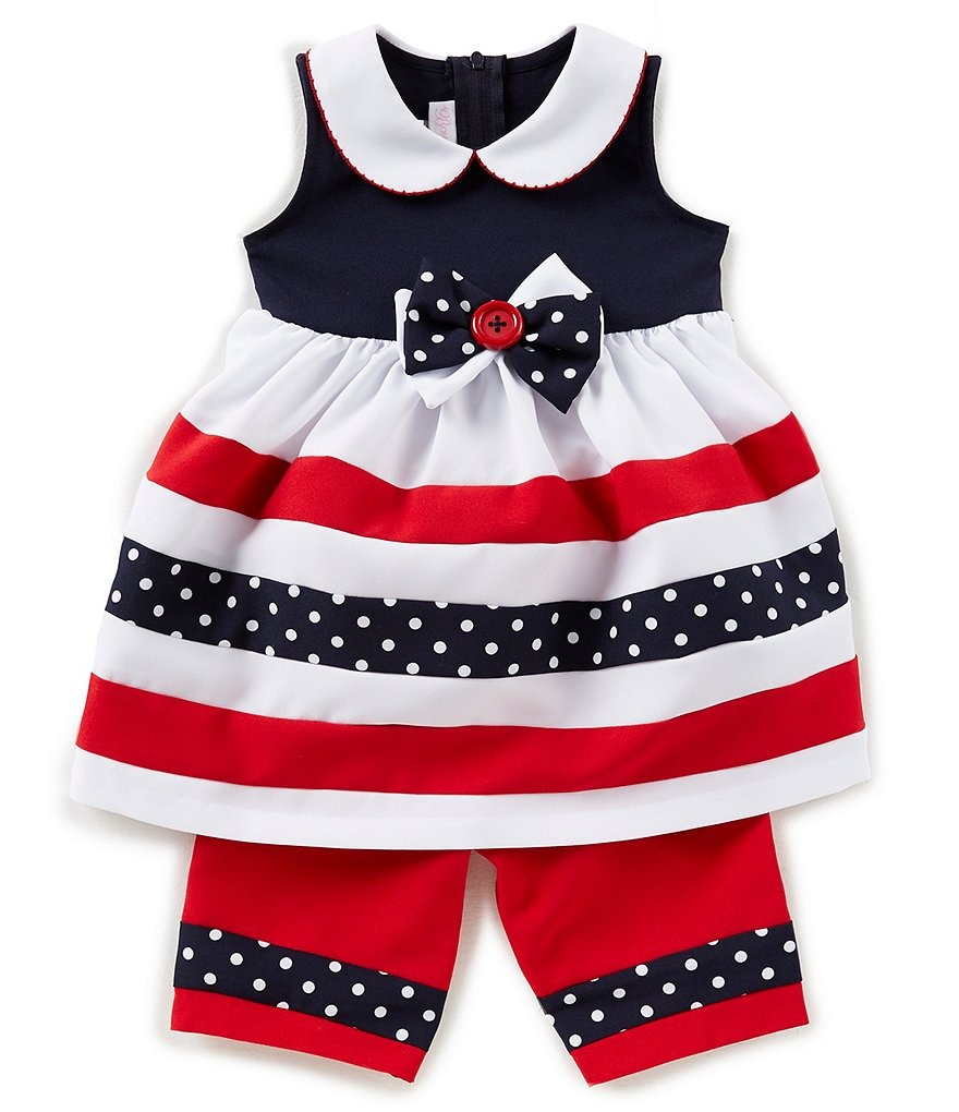 Bonnie Baby Baby Girls 12-24 Months Striped Bow Dress & Poplin Pants Set