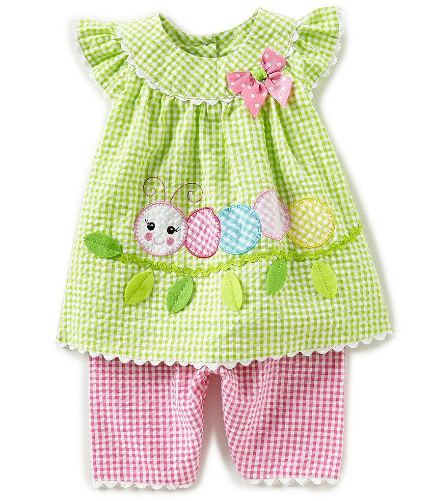 Bonnie Baby Baby Girls Newborn-24 Months Caterpillar-Appliqued Checked Dress & Capri Pant Set