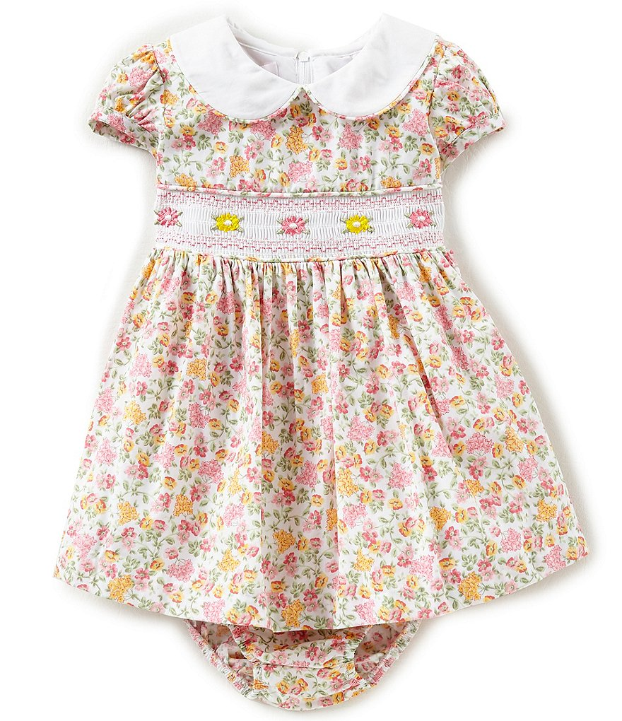Bonnie Baby Baby Girls Newborn-24 Months Ditsy-Floral-Printed A-Line Dress