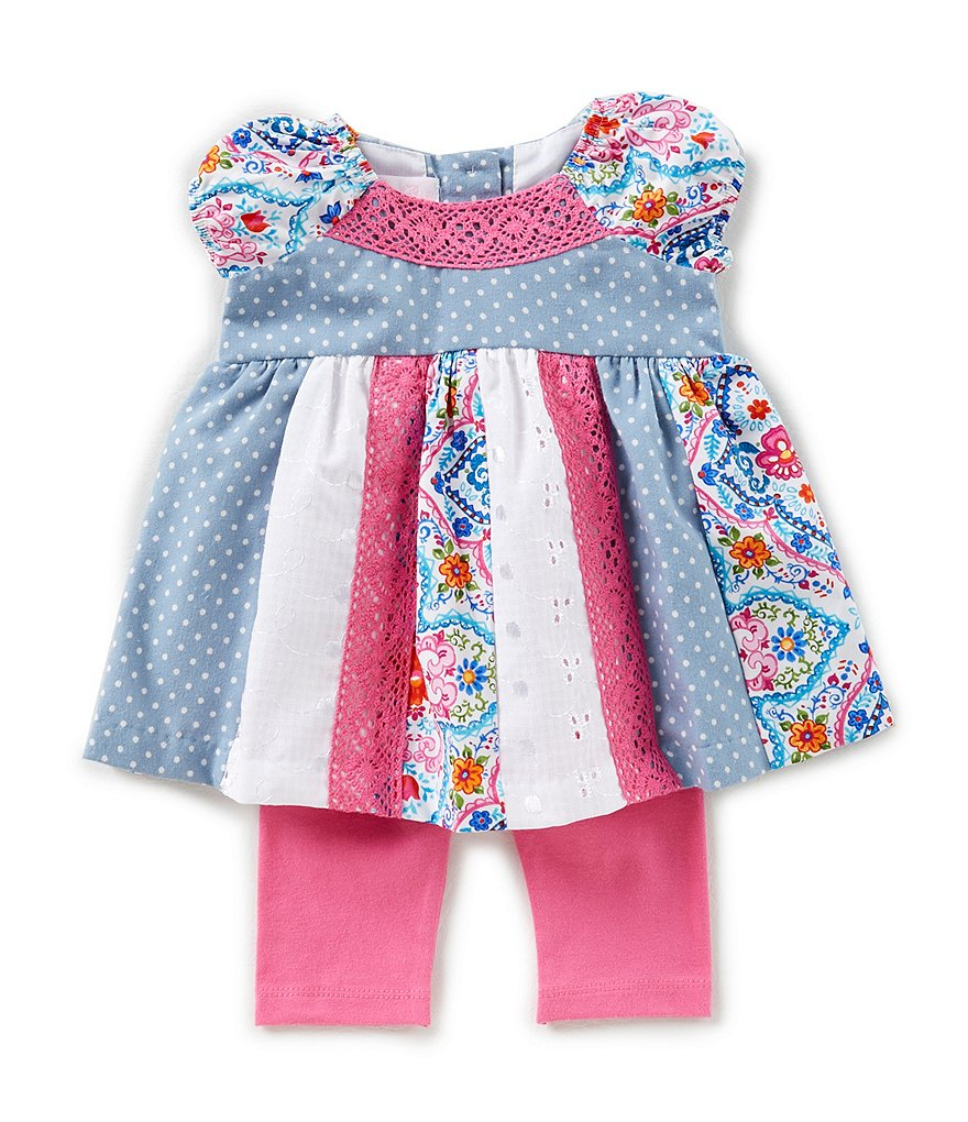 Bonnie Baby Baby Girls Newborn-24 Months Mixed-Print Dress & Solid Leggings Set