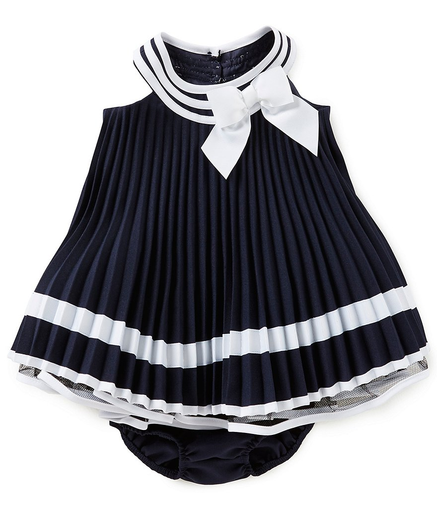Bonnie Baby Baby Girls Newborn-24 Months Nautical Pleated Bow Dress