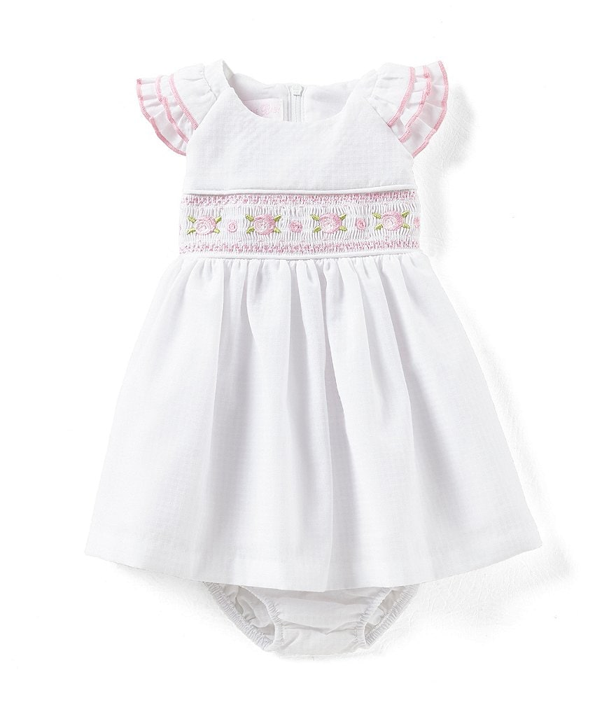 Bonnie Baby Baby Girls Newborn-24 Months Smocked-Waist Fit-And-Flare Dress