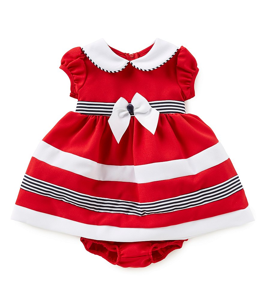 Bonnie Baby Baby Girls Newborn-24 Months Striped Nautical Dress
