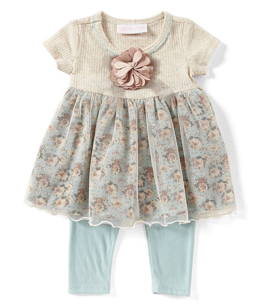Bonnie Baby Baby Girls Newborn-9 Months Floral Applique Printed Dress & Leggings Set