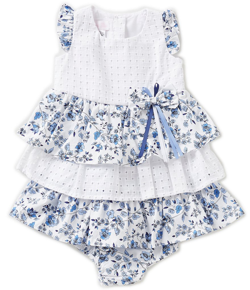 Bonnie Baby Girls 12-24 Eyelet Floral-Printed Tiered Ruffle Dress