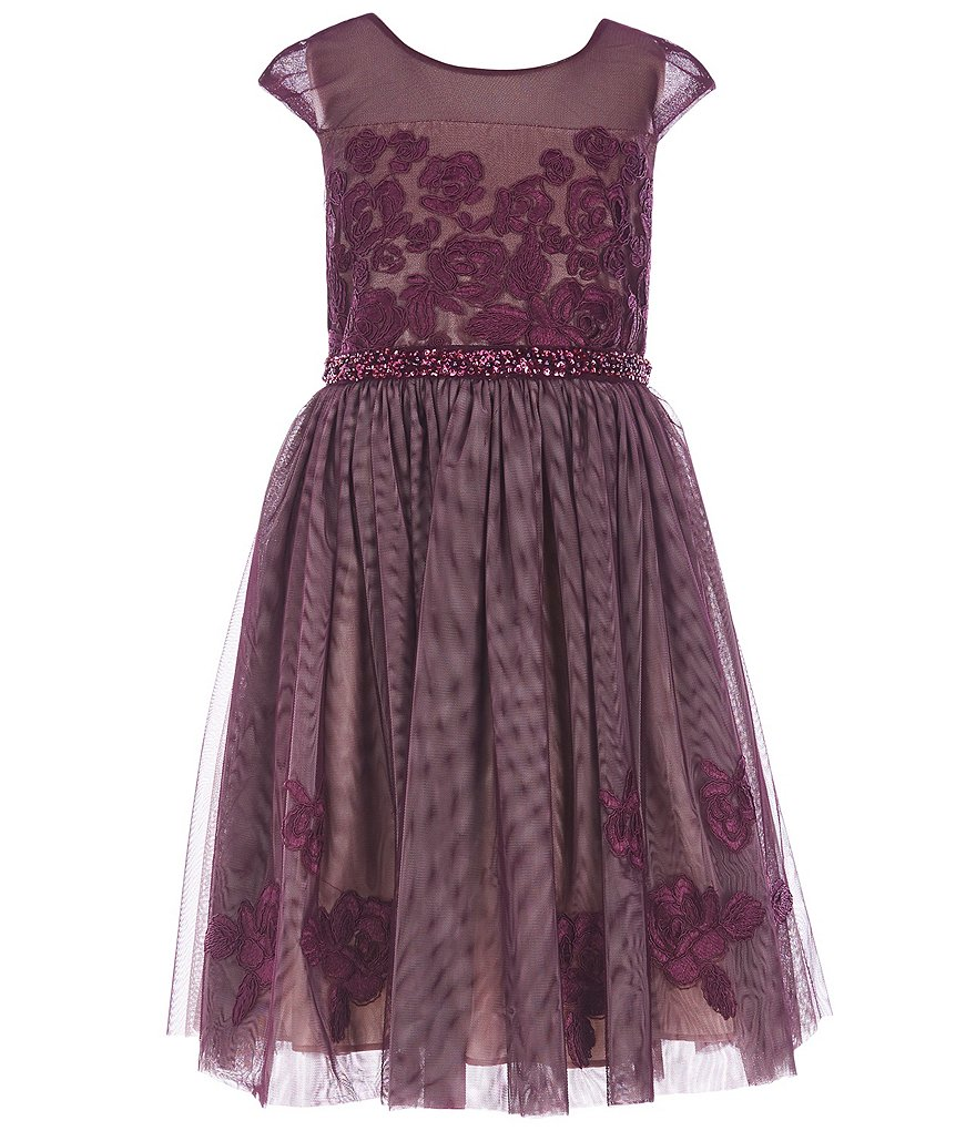 Bonnie Jean Big Girls 7-16 Embroidered Mesh/Tulle Fit-And-Flare Dress