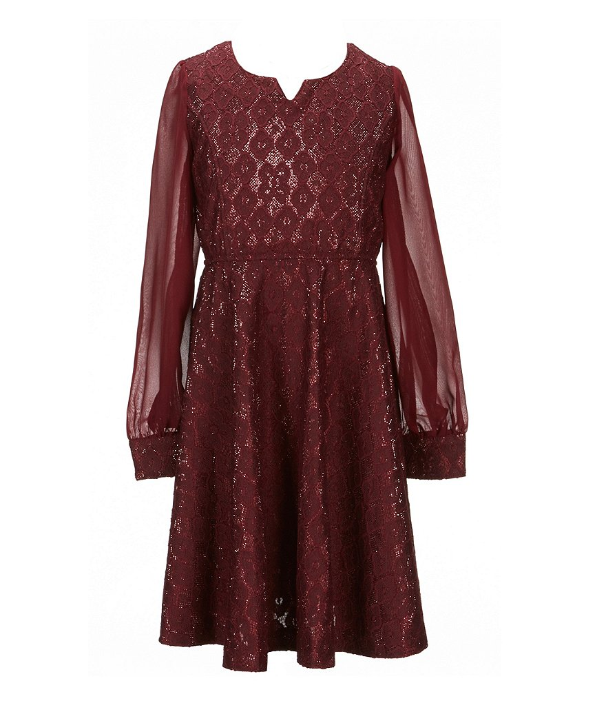 Bonnie Jean Big Girls 7-16 Metallic-Bonded-Lace Dress