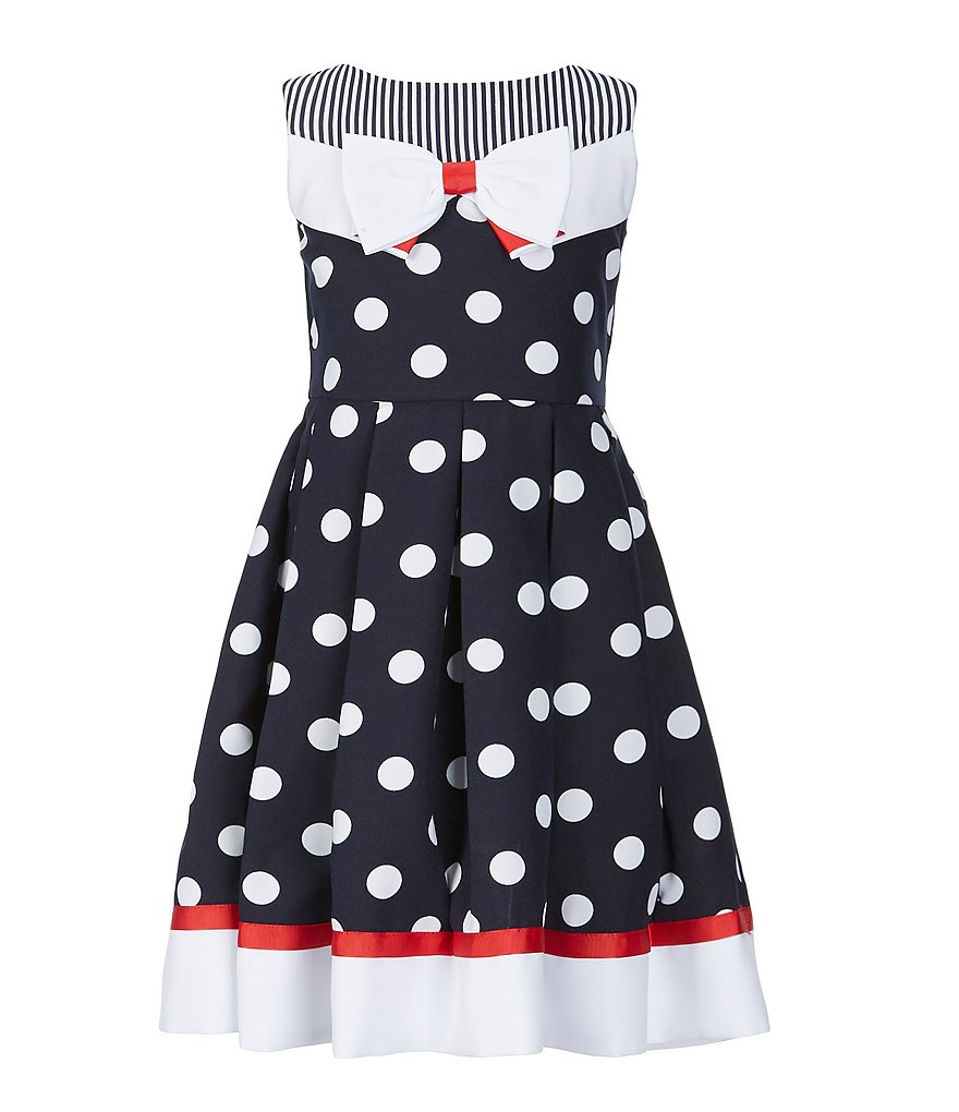 Bonnie Jean Big Girls 7-16 Mixed-Media Nautical Fit-And-Flare Dress