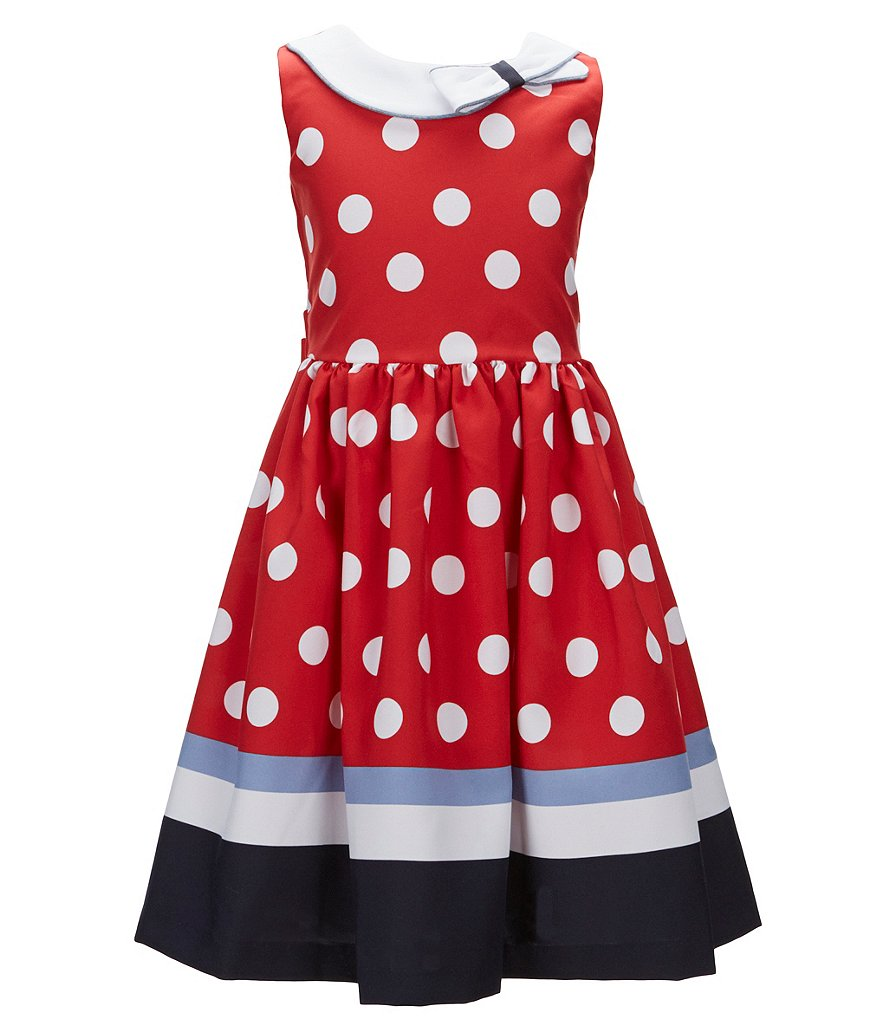 Bonnie Jean Big Girls 7-16 Nautical Dotted Poplin A-Line Dress