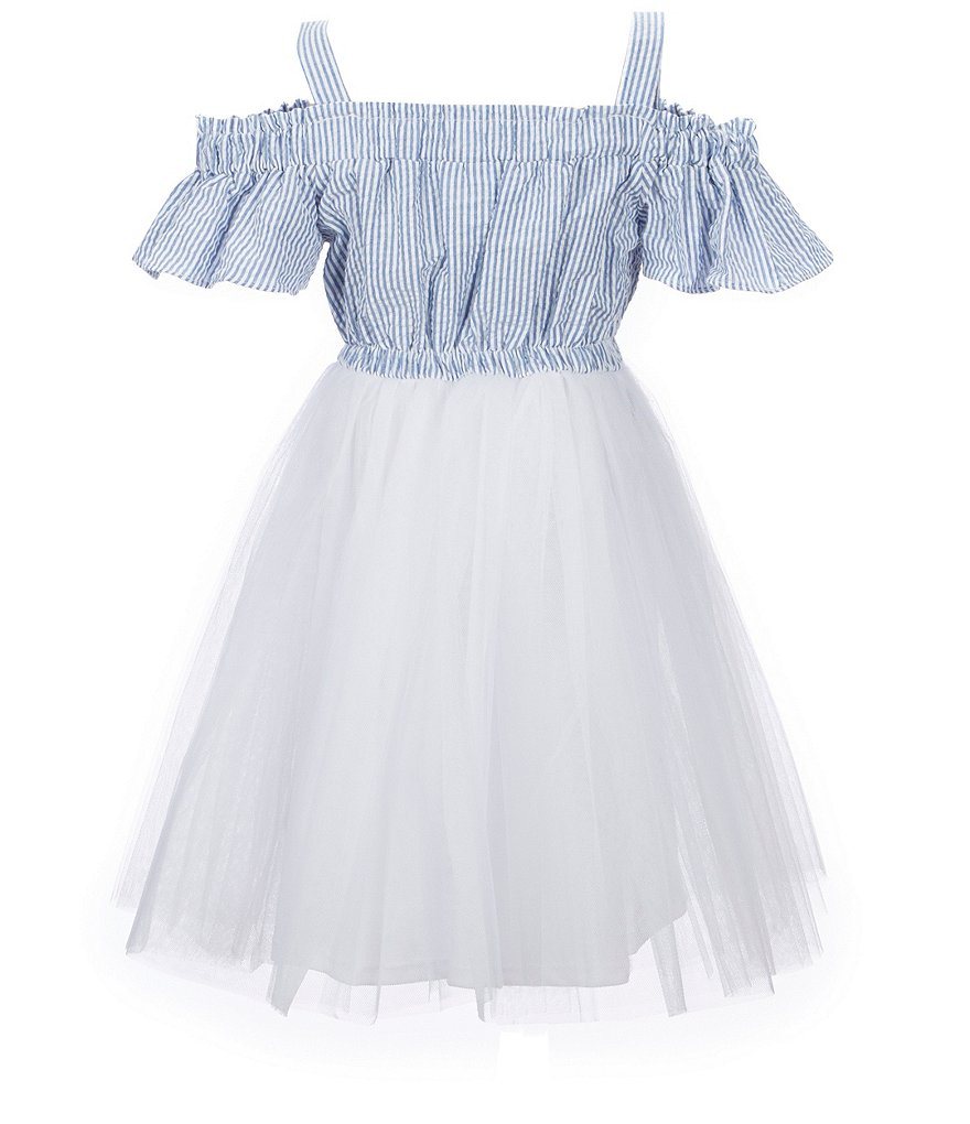 Bonnie Jean Big Girls 7-16 Seersucker Cold-Shoulder Dress