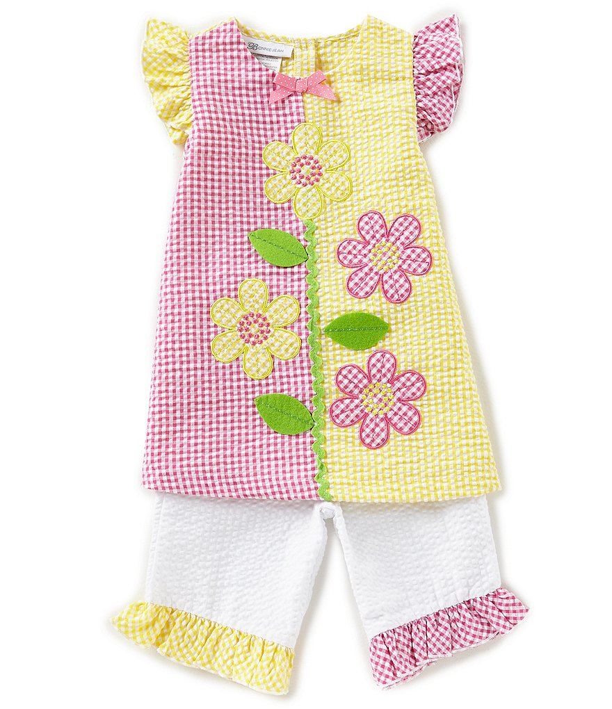 Bonnie Jean Little Girls 2T-4T Daisy Seersucker Dress & Matching Capri Pants Set