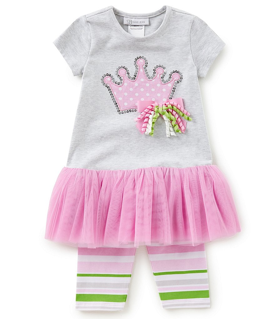 Bonnie Jean Little Girls 2T-4T Princess Tutu Dress & Striped Leggings Set