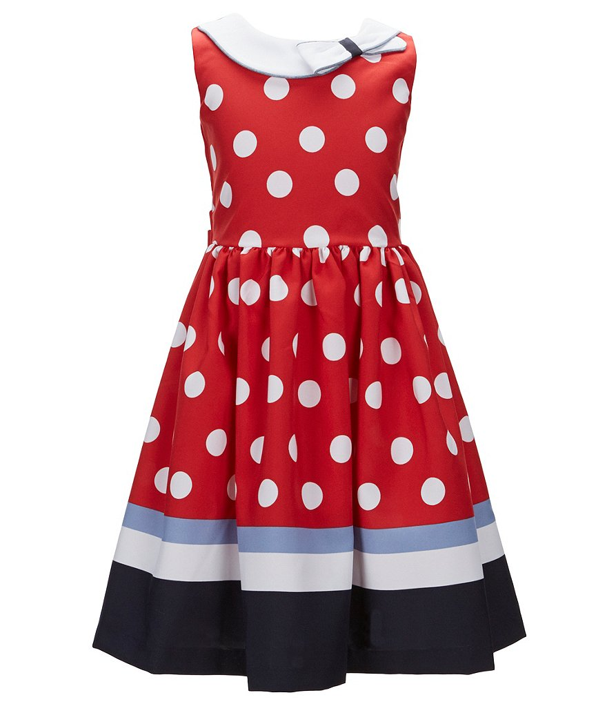 Bonnie Jean Little Girls 2T-6X Nautical Dotted Poplin A-Line Dress
