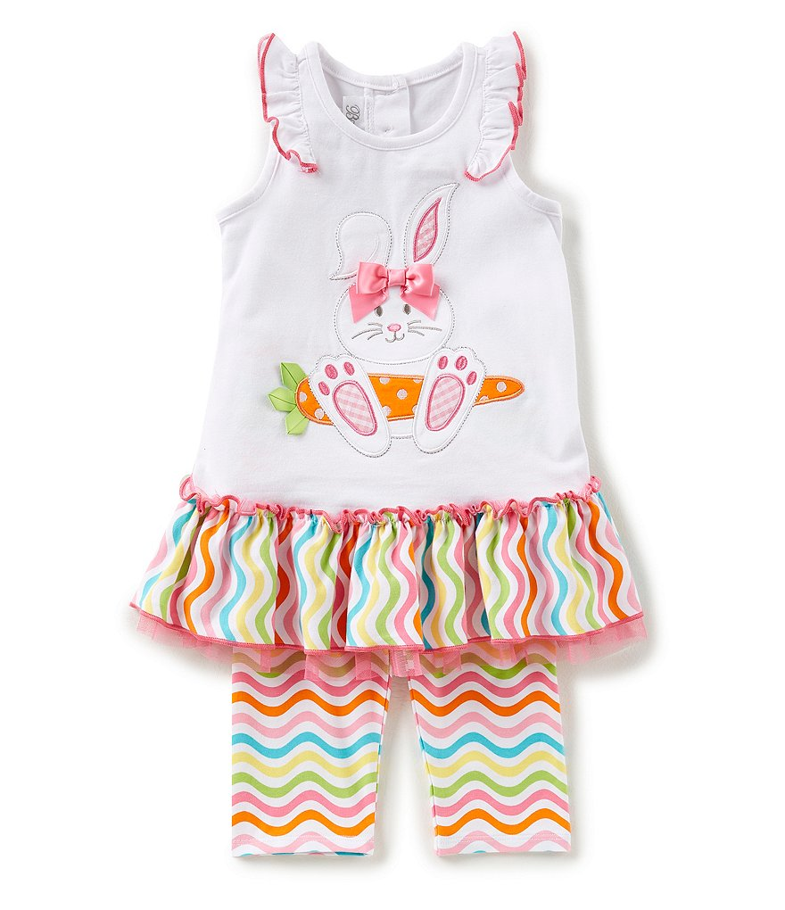 Bonnie Jean Little Girls 2T-6X Easter Bunny Dress & Striped Leggings Set