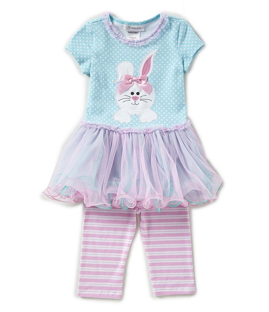 Bonnie Jean Little Girls 2T-6X Easter Bunny Tutu Dress & Striped Leggings Set