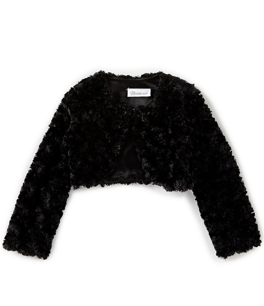 Bonnie Jean Little Girls 2T-6X Faux Fur Long Sleeve Cardigan