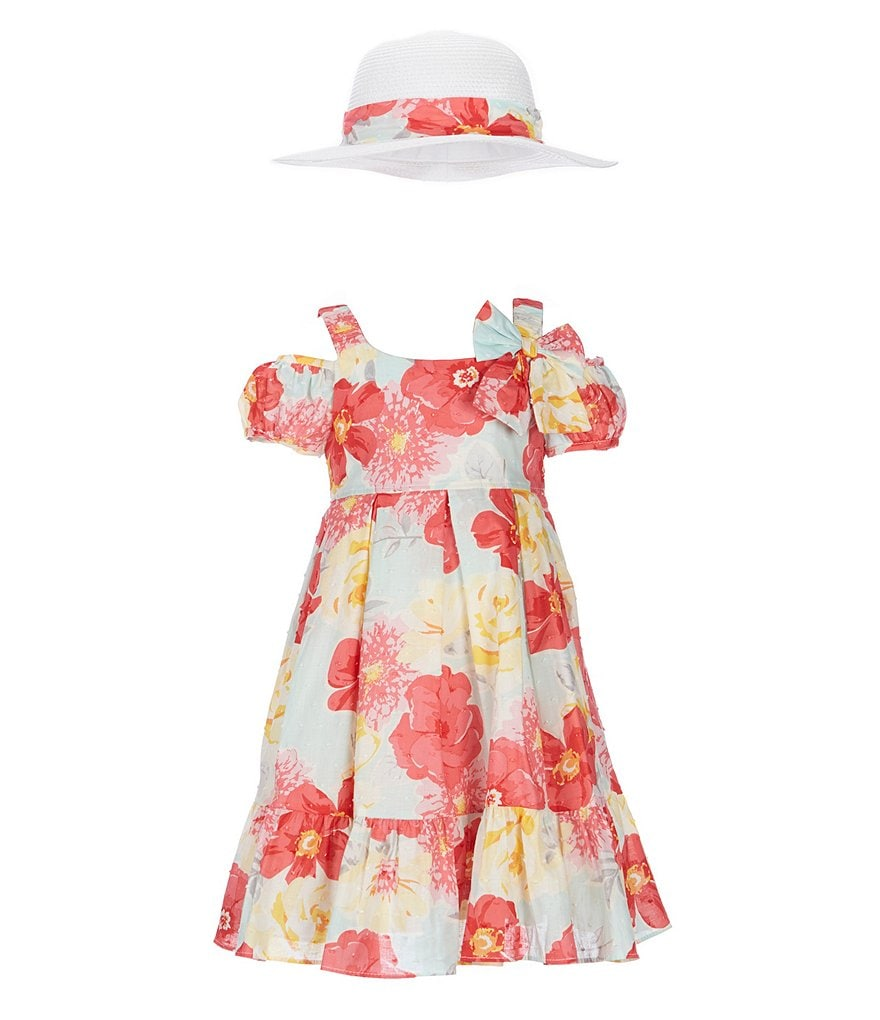 Bonnie Jean Little Girls 2T-6X Floral Cold-Shoulder Dress & Sun Hat Set