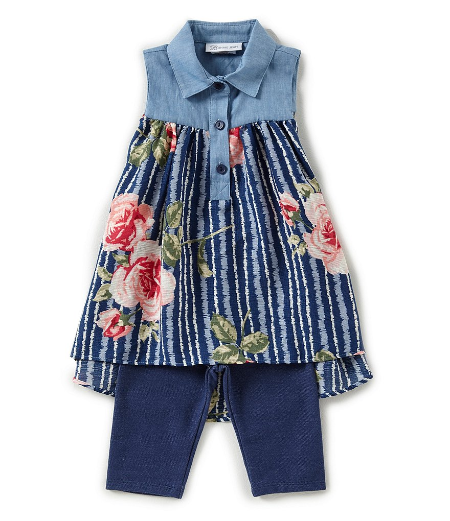 Bonnie Jean Little Girls 2T-6X Floral Shirtdress & Denim-Look Knit Capri Leggings Set