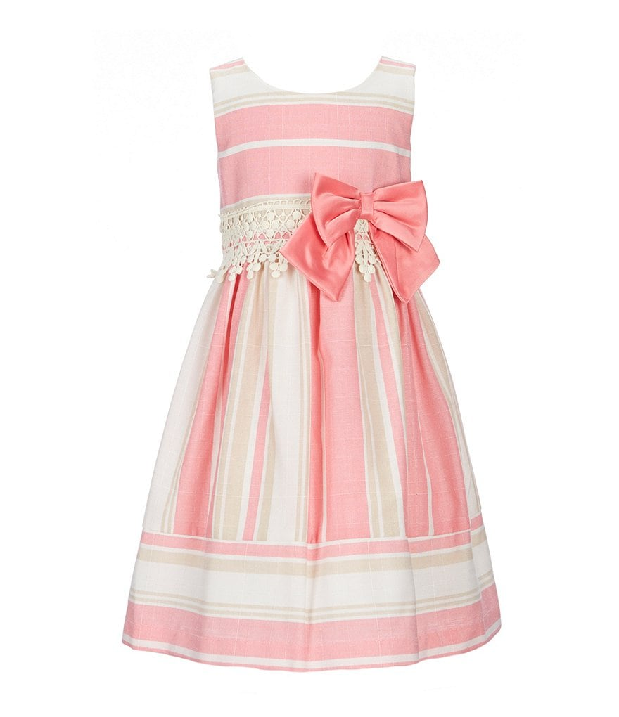 Bonnie Jean Little Girls 2T-6X Stripe Linen-Look A-Line Dress