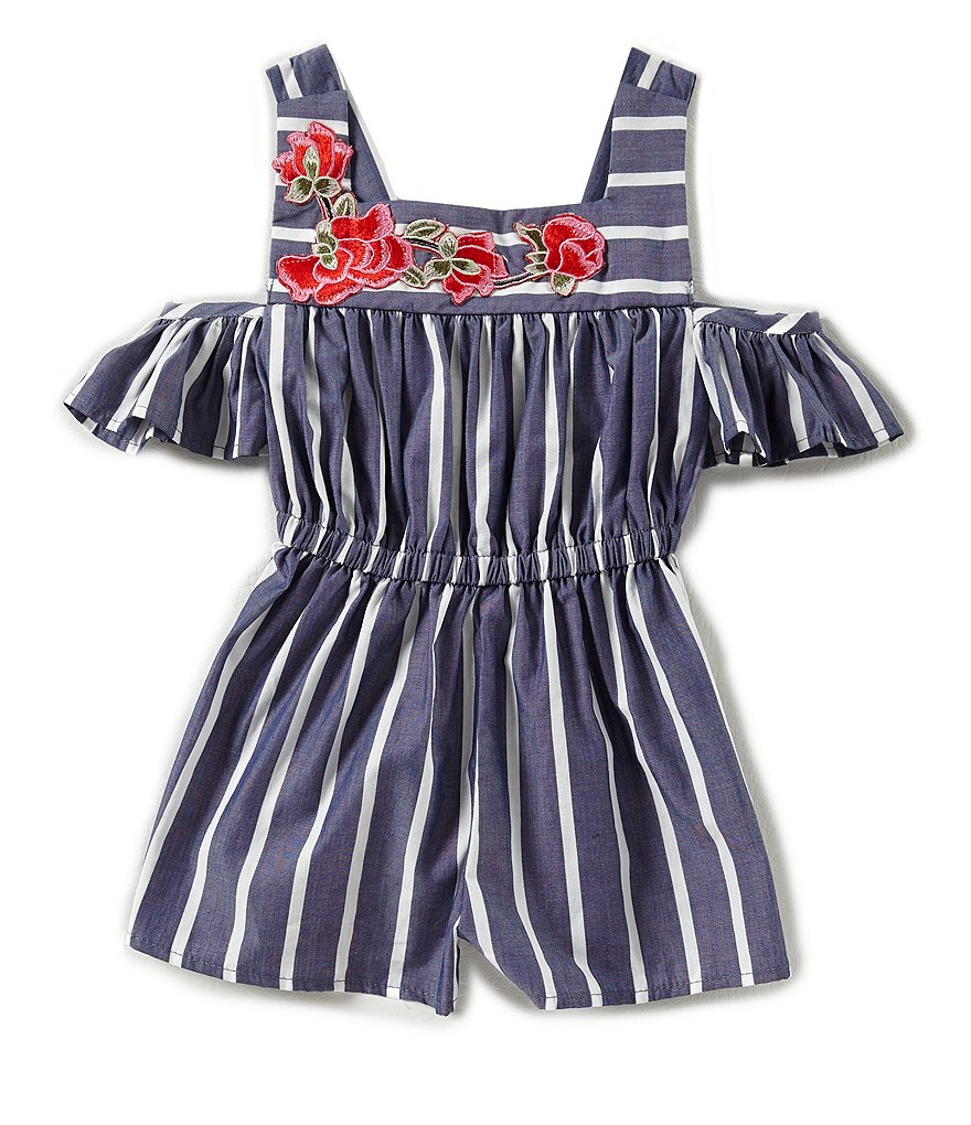 Bonnie Jean Little Girls 2T-6X Striped Cold-Shoulder Romper