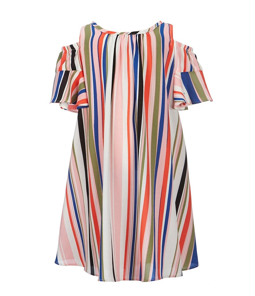Bonnie Jean Little Girls 4-6X Cold-Shoulder Striped Crepe Dress