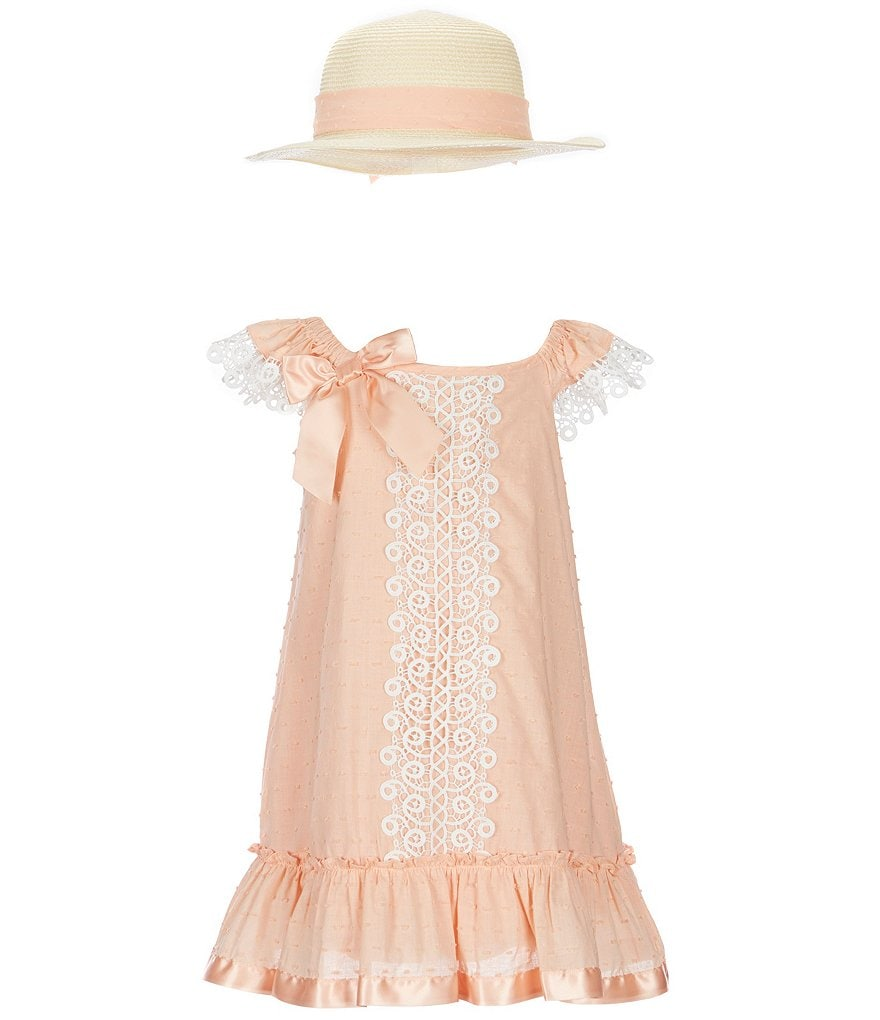 Bonnie Jean Little Girls 4-6X Flounce Shift Dress & Sun Hat Set