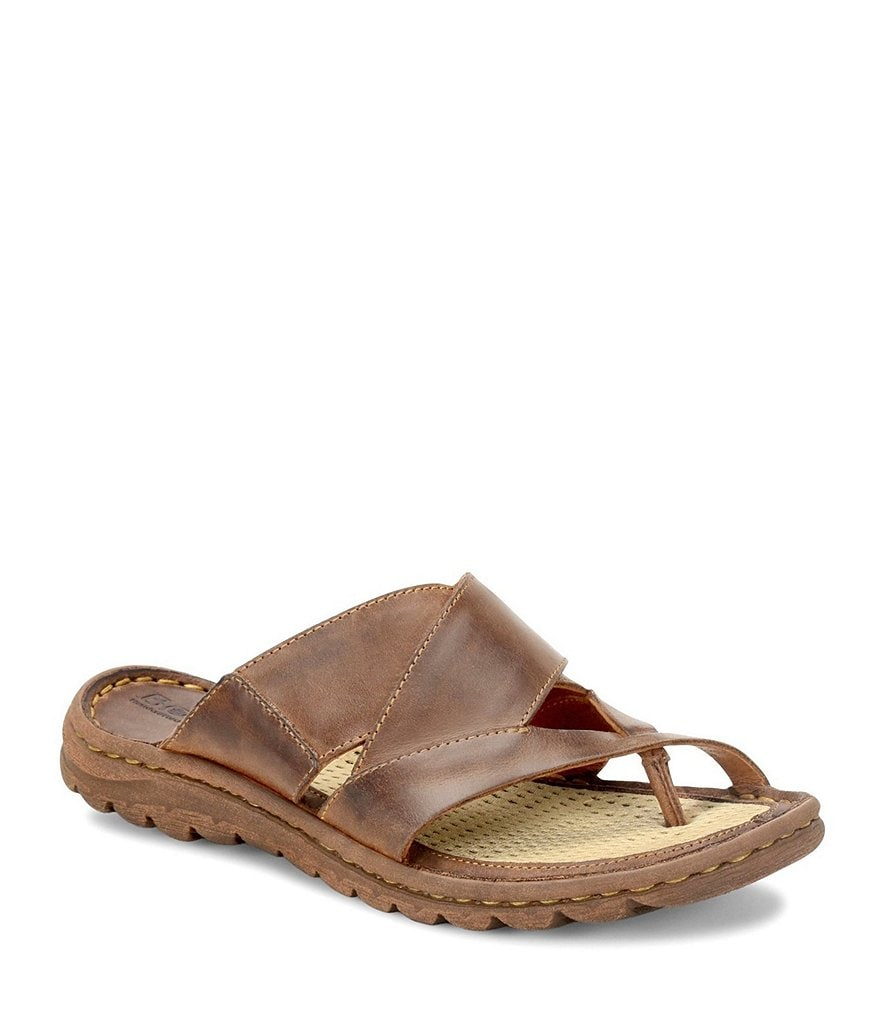 Born Sorja Full Grain Leather Criss Cross Slip On Thong Sandals