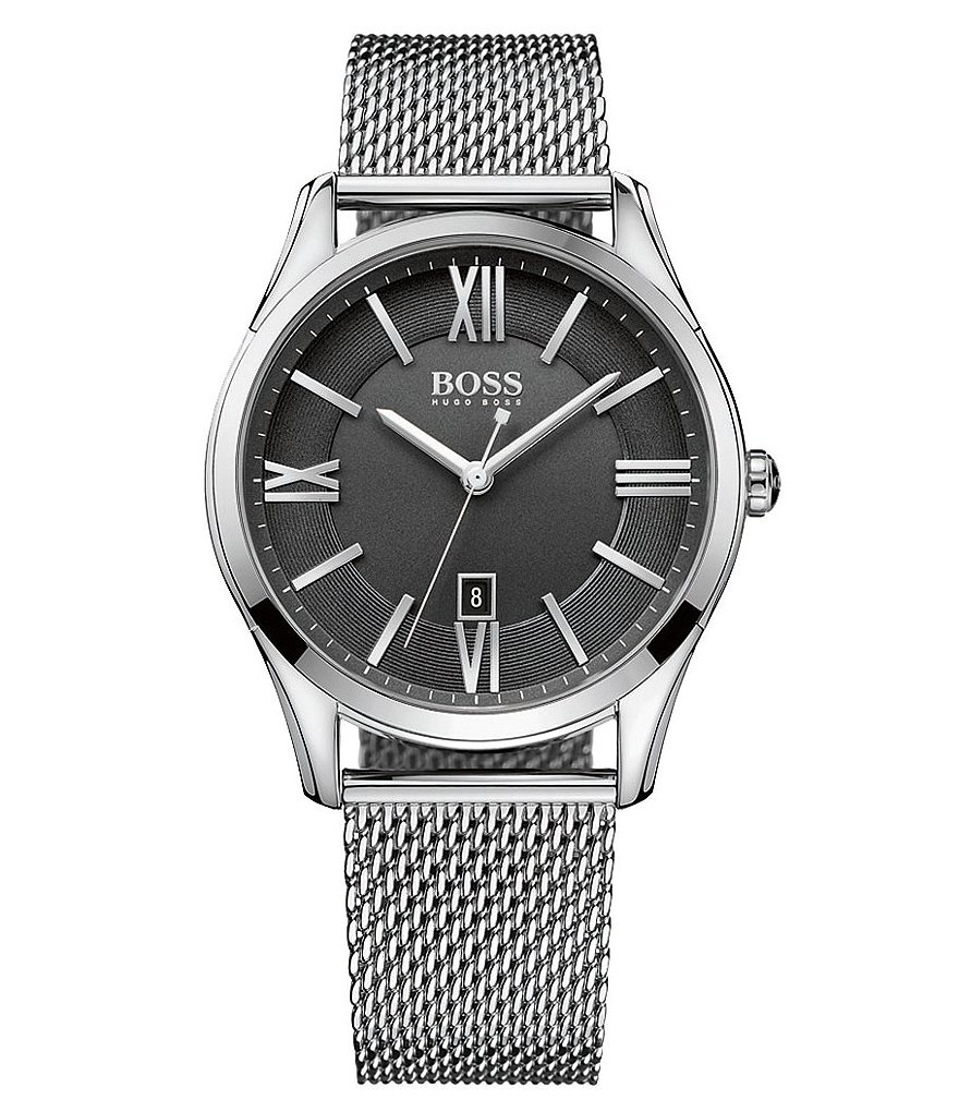 BOSS Ambassador Analog & Date Mesh Bracelet Watch