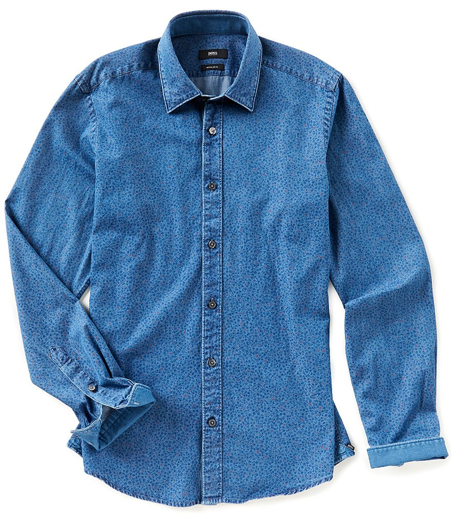 BOSS Lance Denim Print Long-Sleeve Woven Shirt