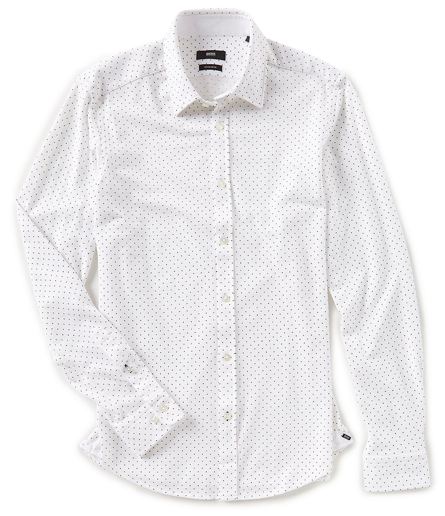 BOSS Lukas Jersey Dot Long-Sleeve Woven Shirt