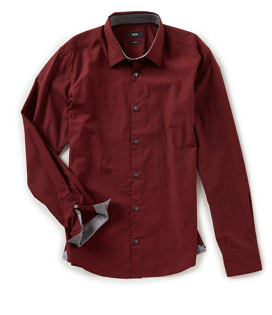 BOSS Reid Slim-Fit Geo Print Long-Sleeve Woven Shirt