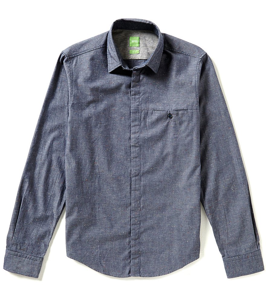 BOSS Green Bemma Long-Sleeve Washed Tweed Woven Shirt
