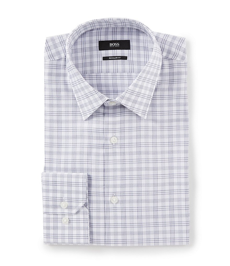 BOSS Hugo Boss Regular Fit Point Collar Plaid Dress Shirt