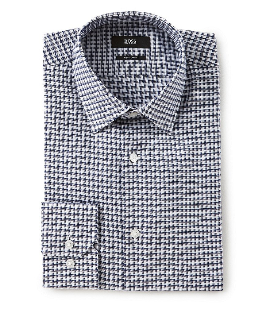 BOSS Hugo Boss Regular Fit Spread Collar Checked Dress Shirt