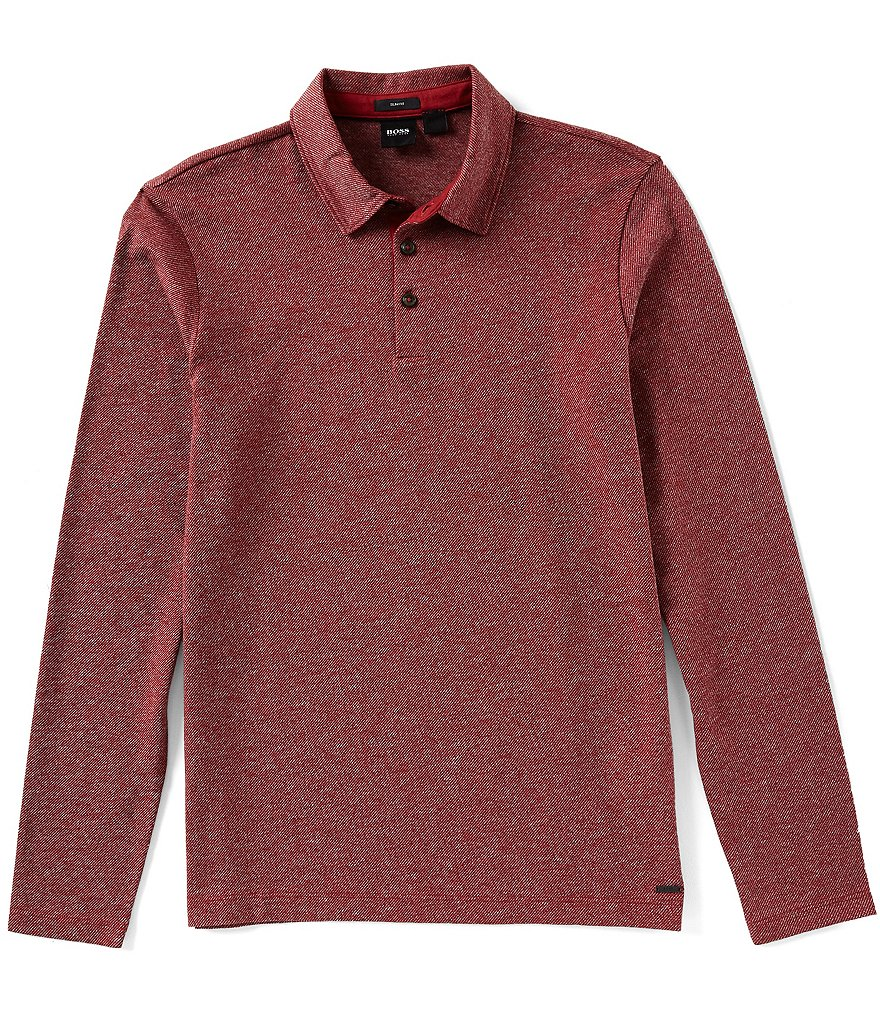 BOSS Pleins Slim-Fit Long-Sleeve Polo Shirt