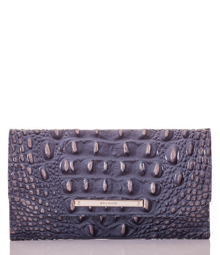 Brahmin Melbourne Collection Crocodile-Embossed Soft Checkbook Wallet