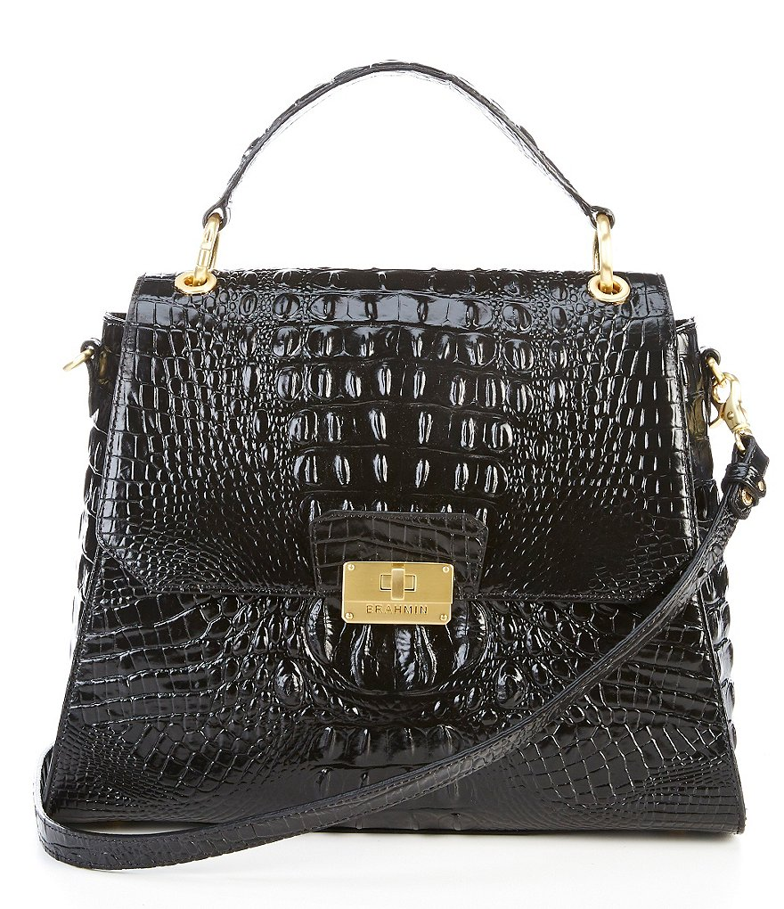 Brahmin Melbourne Collection Brinley Crocodile-Embossed Top Handle Satchel